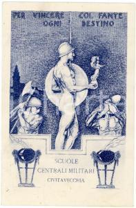 1915 CIVITAVECCHIA Scuole Centrali Militari - Cartolina ILLUSTRATA FP VG