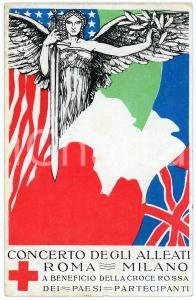 1915 ca WW1 ROMA - MILANO Concerto degli Alleati per la CROCE ROSSA Cartolina FP