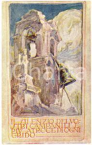 1915 ca WW1 Artista G. MAZZONI Il silenzio dei vostri campanili - Cartolina FP