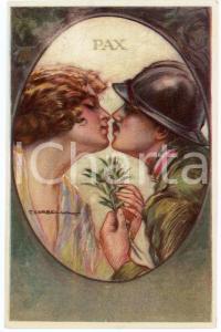 1915 ca WW1 Artista T. CORBELLA Soldato bacia la fidanzata - Cartolina FP NV