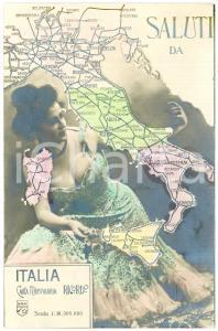 1915 ca FERROVIE DELLO STATO Donna abbraccia la rete ferroviaria - Cartolina FP