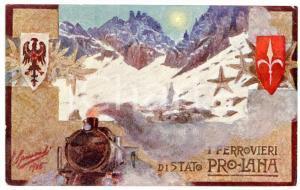 1915 WW1 - FERROVIE DELLO STATO Ferrovieri di Stato Pro-Lana - Cartolina FP NV
