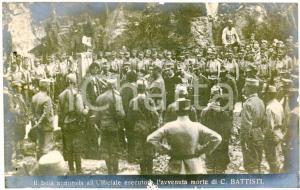 1916 IRREDENTISMO Boia annunzia l'avvenuta morte di Cesare BATTISTI Cartolina FP