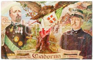 1915 ca WW1 La spada di Raffaele e Luigi CADORNA per l'Italia - Cartolina FP NV
