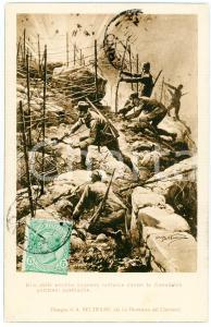 1919 WW1 Artista Achille BELTRAME Sorpresa notturna contro austriaci - Cartolina
