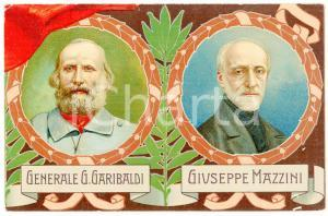 1911 CINQUANTENARIO REGNO D'ITALIA Giuseppe GARIBALDI Giuseppe MAZZINI Cartolina