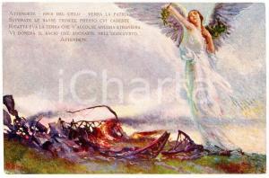 1916 WW1 DIRIGIBILISTI - AEROSTIERI In memoria del Dirigibile M4 Cartolina FP NV
