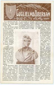 1915 ca IRREDENTISMO Guglielmo OBERDAN Cartolina commemorativa FP NV