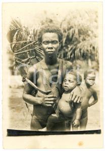 1930 ca CONGO BELGE Mother and child - Scarification - ETHINC NUDE Photo 7x10 cm