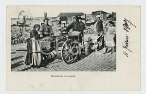 1907 BELGIQUE Marchands de moules - Carte postale FP VG