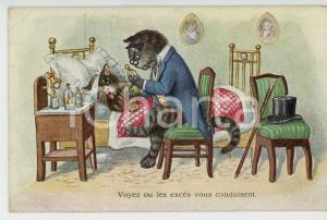 1932 ANIMALS Cat-doctor visiting a sick kitten ANTHROPOMORPHIC Postcard FP NV