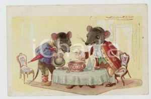 1910 ca Achille Luciano MAUZAN Town mouse Country mouse ANTHROPOMORPHIC Postcard
