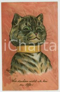 1907 Artist Louis WAIN Cat with collar ANTHROPOMORPHIC Postcard FP NV