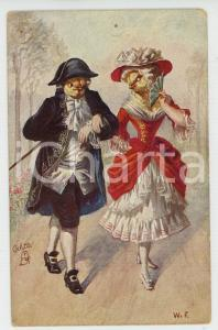 1920 ca ANIMALS Couple of canaries ANTHROPOMORPHIC Postcard FP VG