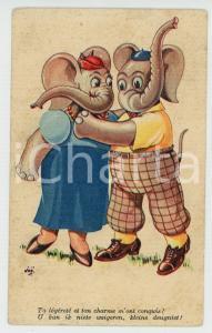 1936 ANIMALS Couple of elephants ANTHROPOMORPHIC Postcard FP VG