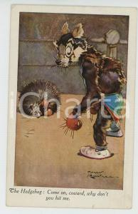 1929 ANIMALS - BOXE Dog vs. Hedgehog ANTHROPOMORPHIC Postcard FP VG