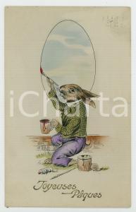 1912 RABBITS - Joyeuses Pâques - Rabbit painting *Carte postale
