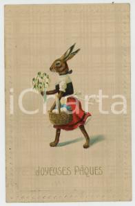1909 JOYEUSES PÂQUES Rabbit carrying painted eggs ANTHROPOMORPHIC Postcard
