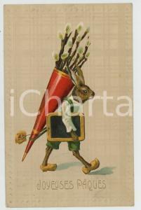 1909 JOYEUSES PÂQUES Rabbit carrying a chalkboard ANTHROPOMORPHIC Postcard