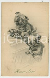 1909 HEUREUSE ANNÉE Dog race - Ill. by R. ULREICH Anthropomorphic postcard (1)
