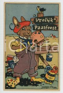 1925 ca VROLIJK PAASFEEST Hare painting easter eggs ILLUSTRATED Postcard FP NV