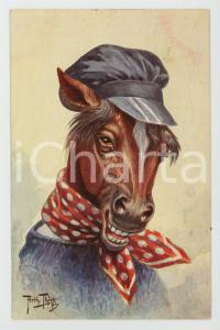 1911 Artist Arthur THIELE Horse with hat ANTHROPOMORPHIC Postcard FP NV