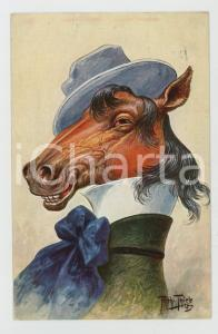 1911 Artist Arthur THIELE Horse with hat ANTHROPOMORPHIC Postcard FP NV (1)