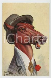1911 Artist Arthur THIELE Horse with hat ANTHROPOMORPHIC Postcard FP NV (2)