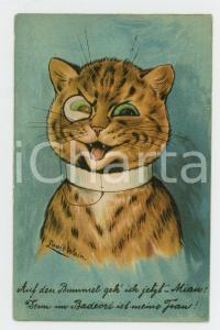1910 ca Artist Louis WAIN Evil cat with monocle ANTHROPOMORPHIC Postcard FP NV