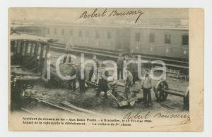 1905 BRUXELLES Accident chemin de fer AUX DEUX PONTS 1904 - Carte postale