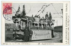 1909 NEDERLAND La dekorita esperanto tramo - Carte postale FP VG