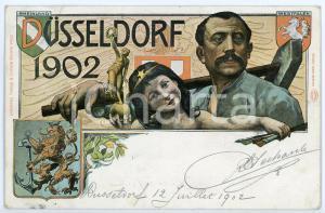 1902 Exposition DUSSELDORF (GERMANY) Illustrated Chromo Postcard