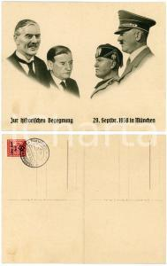 1938 MUNICH AGREEMENT Chamberlain -Daladier -Hitler - Mussolini *Double postcard