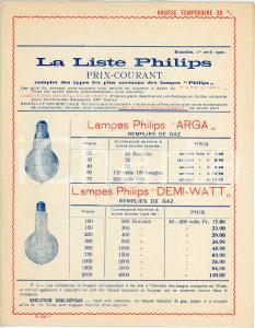 Avril 1920 BRUXELLES Liste lampes PHILIPS prix courant  - ILLUSTRE'