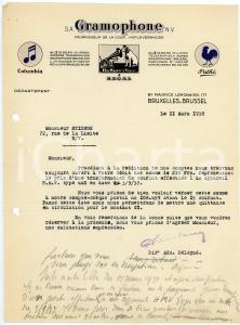 1938 BRUXELLES S. A. GRAMOPHONE - Lettre *Letterhead COLUMBIA - PATHE'