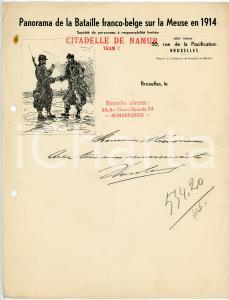 1915 ca BRUXELLES Panorama de la Bataille sur la Meuse en 1914 *Papier à en-tête