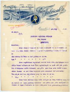 1915 BRUXELLES - Pneu FABRICABLE - Lettre avec papier à en-tête illustré