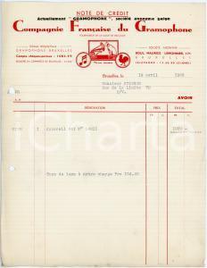 1938 BRUXELLES Compagnie Française du Grammophone - Note de crédit / Letterhead