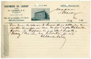 1914 BRUXELLES Parfumerie Ch. LAURENT PARIS - Memorandum / Letterhead