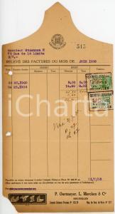 1938 BRUXELLES P. OORTMEYER, L. MERCKEN & Cie - Relevé des factures - Circulé