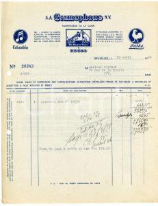 1938 BRUXELLES S. A. GRAMOPHONE - Facture / Letterhead COLUMBIA - PATHE'