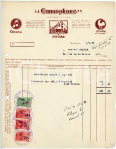 1937 BRUXELLES S. A. GRAMOPHONE - Facture / Letterhead COLUMBIA - PATHE'
