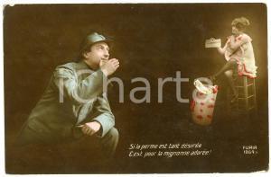 1919 BELGIQUE Le soldat pense à sa mignonne adorée - Carte postale FP VG