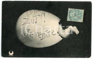 1904 LE TOUR DU MONDE DANS UN OEUF - Zut! Je rentre - Carte postale n°2