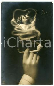 1911 LOVERS The memory of the beloved in the smoke of a pipe - Postcard FP VG