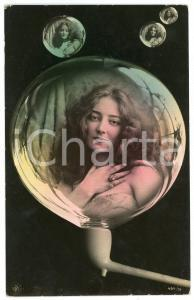 1908 LOVERS Lady in a soap bubble - Postcard FP VG (1)
