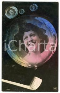 1906 LOVERS Lady in a soap bubble - Postcard FP VG (3)