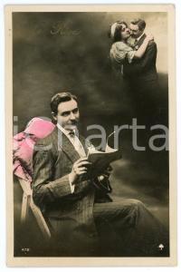 1910 ca LOVERS - LE RÊVE - Memory of hug between lovers - Postcard
