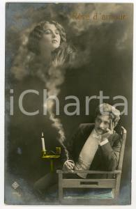 1911 LOVERS - RÊVE D'AMOUR Memory of the beloved in smoke of cigarette POSTCARD