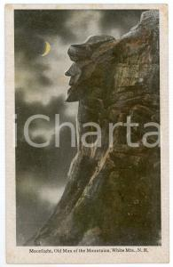 1910 ca USA WHITE MOUNTAINS - Moonlight - Old Man of the Mountains - Postcard